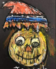 Draw a Scarecrow Pastel Technique