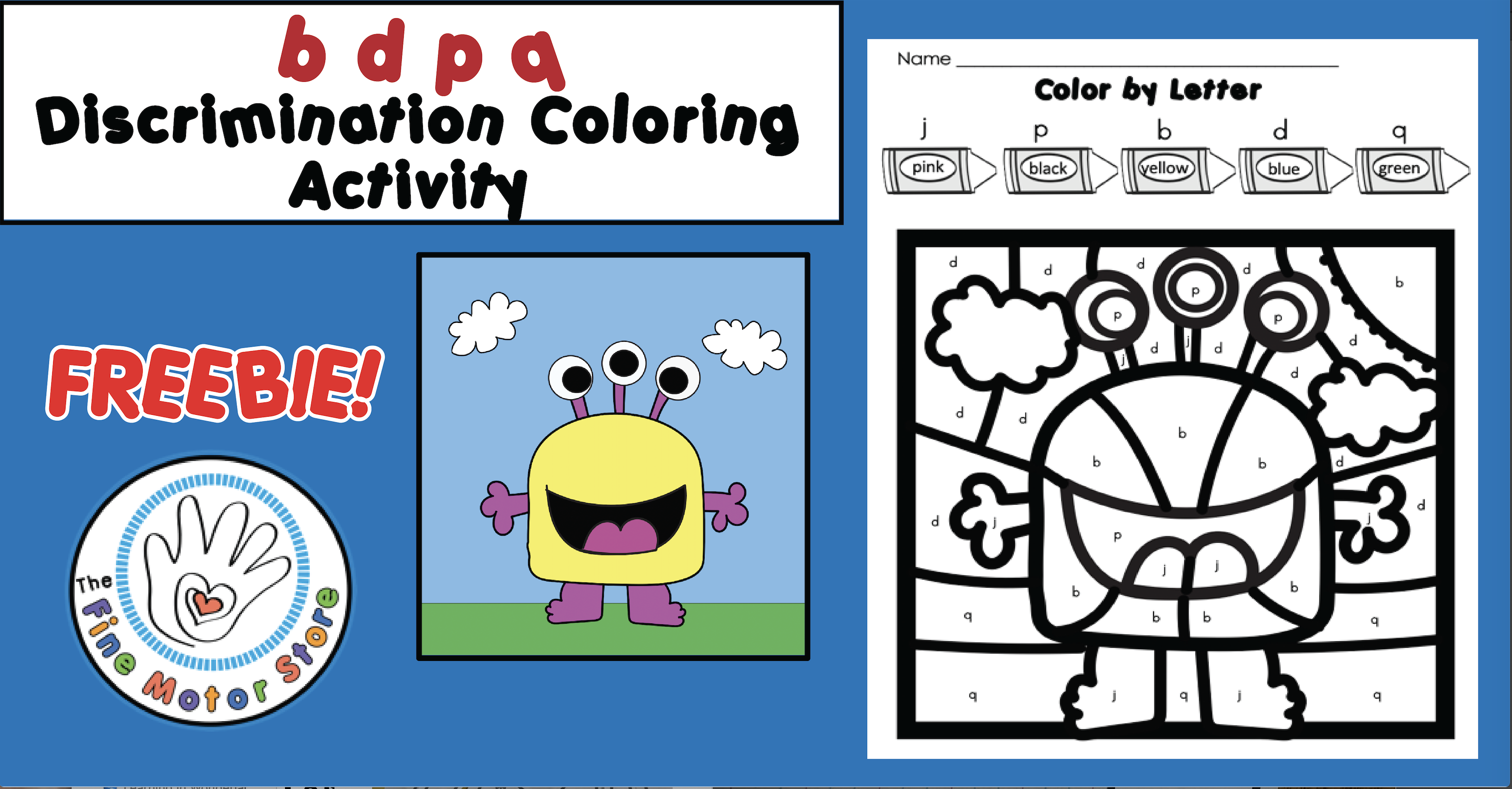 FREE b d p q Discrimination Coloring Activity to Help Letter Reversals