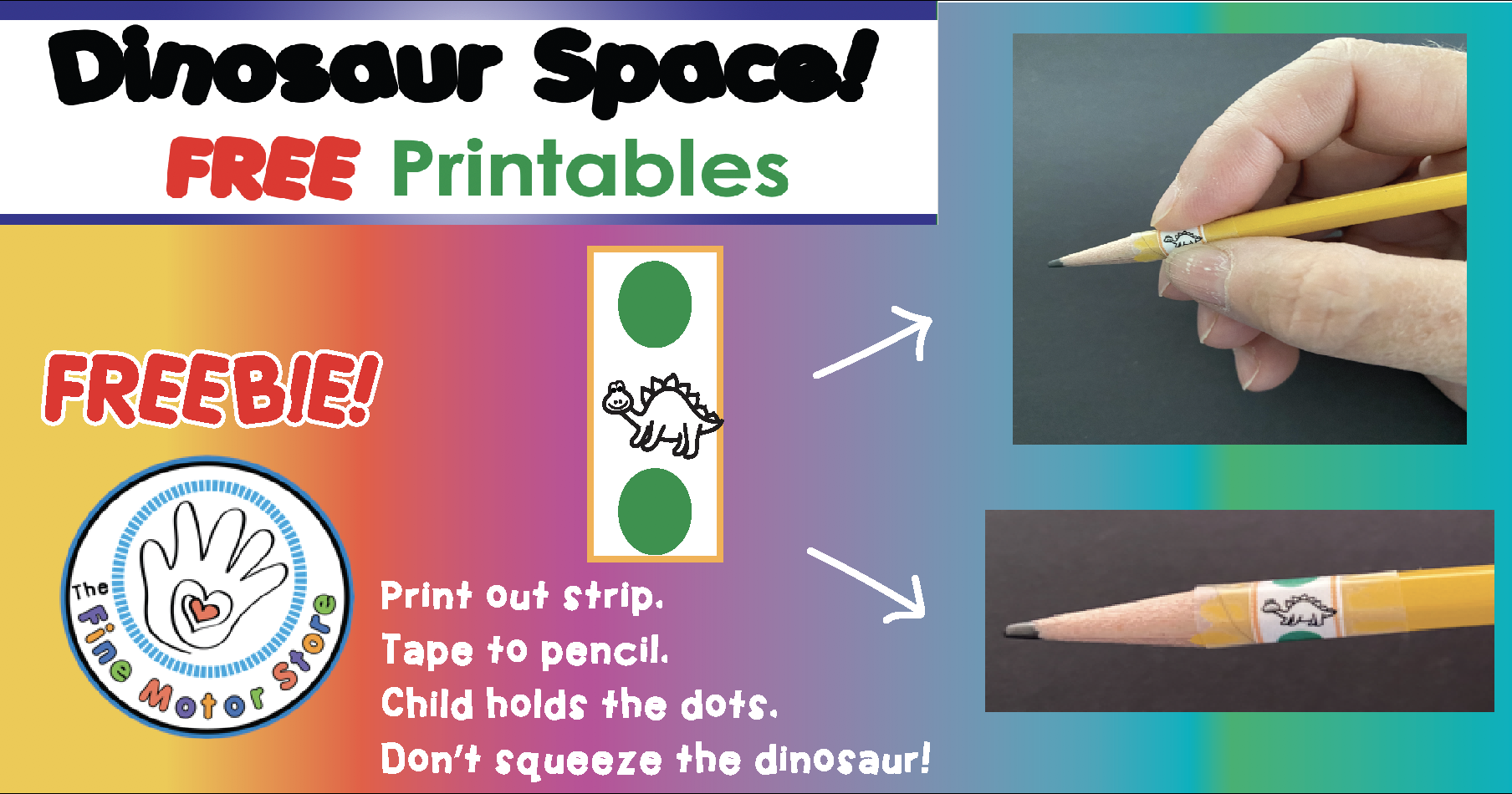 FREE Dinosaur Printable and Warm-ups for HOW TO HOLD A PENCIL!