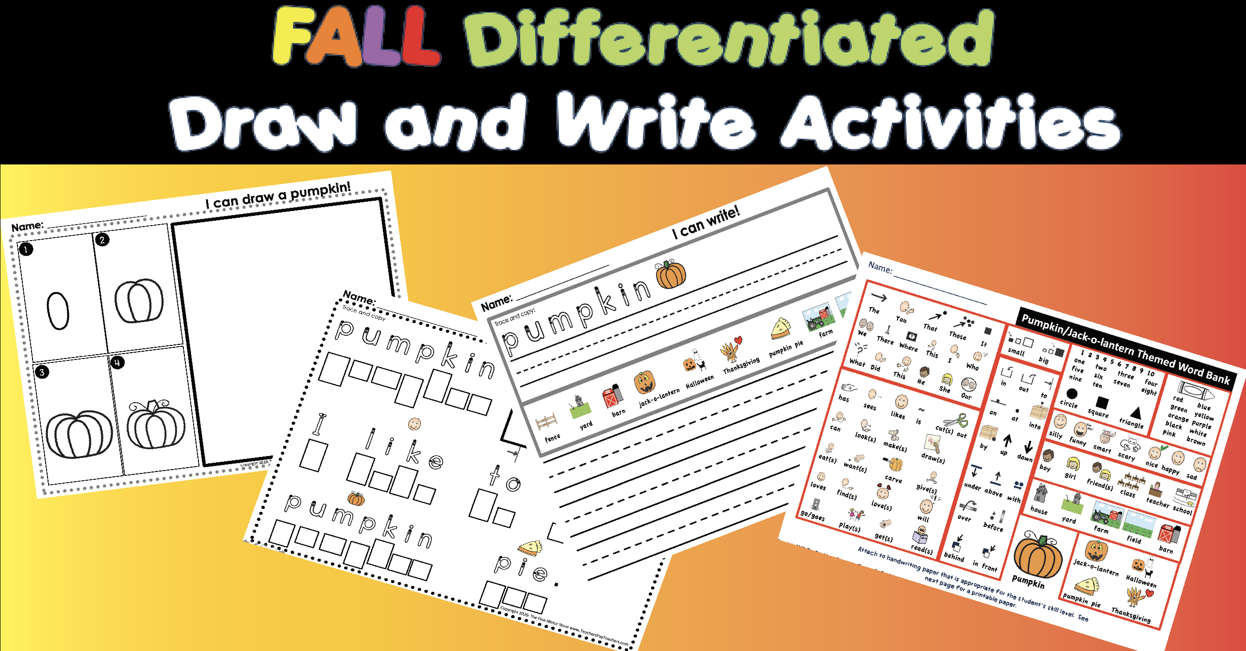 NEW PRODUCT ALERT! 50% OFF 24 hours.  FALL THEMEDDirected Draw and Differentiated Writing Activities for Kindergarten First Grade Special Education and Occupational Therapy