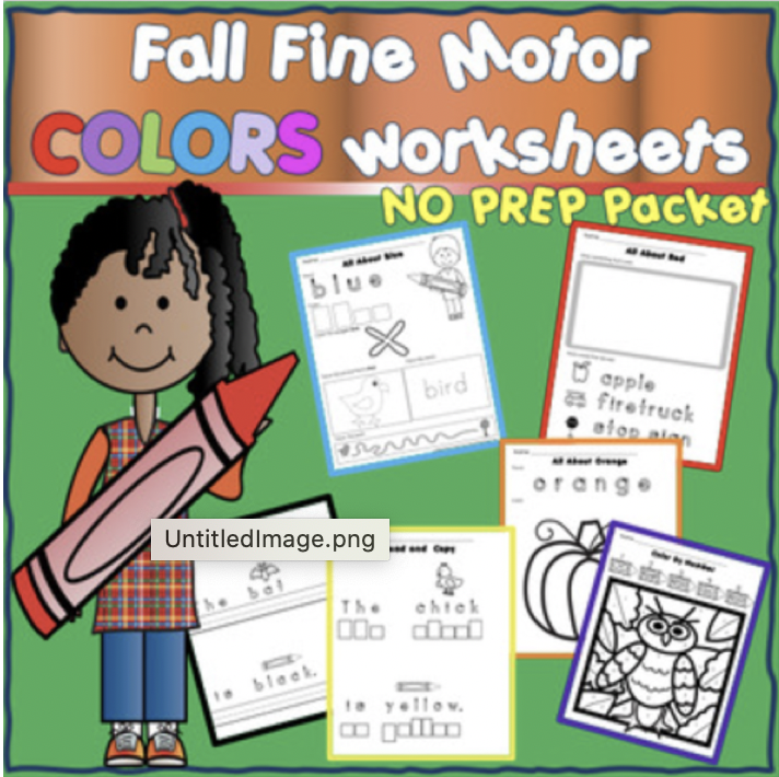 Fall Fine Motor NO PREP worksheets COLORS THEME