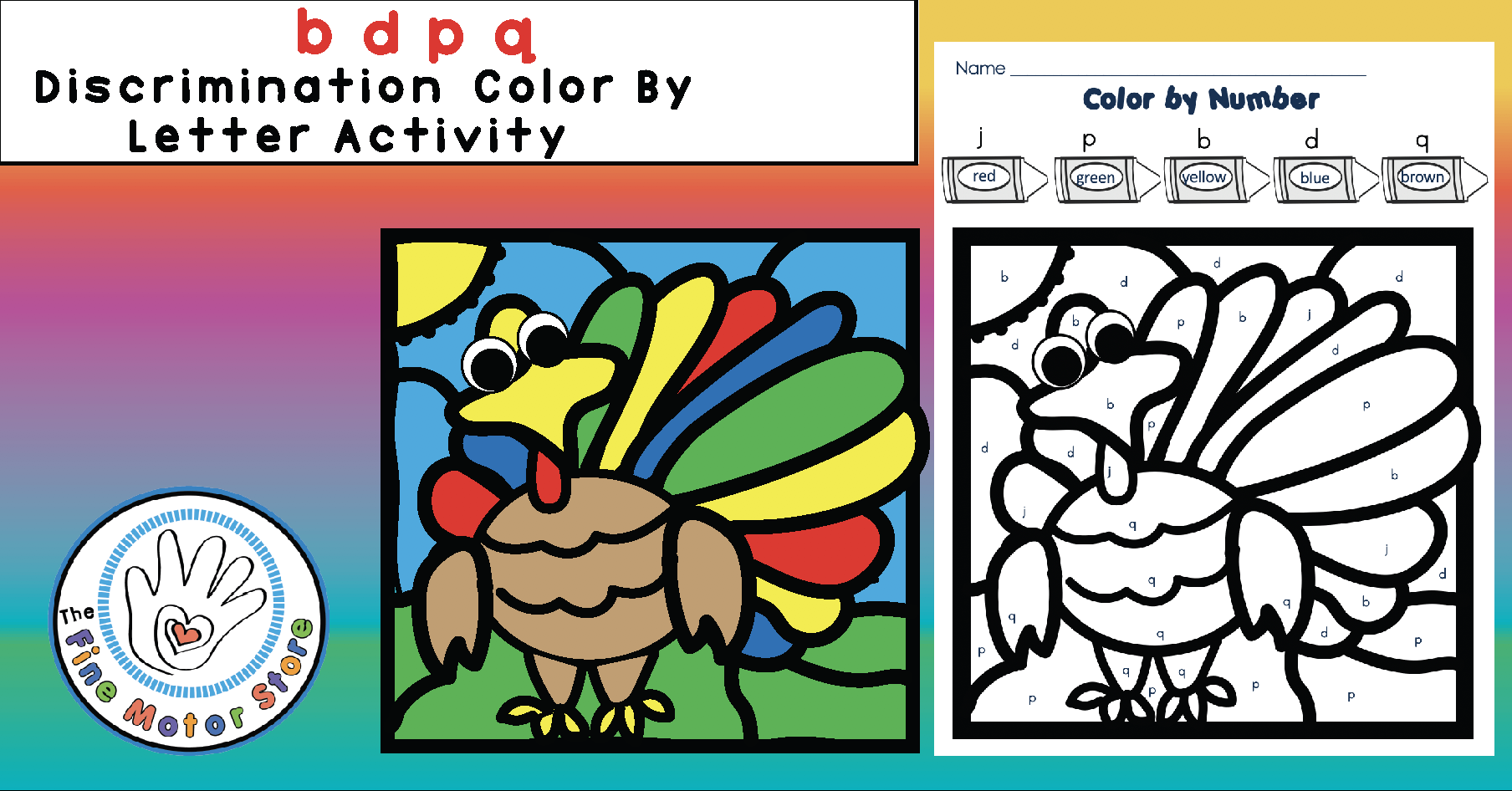 FREE  b  d p q Discrimination Color by Letter TURKEY Activity