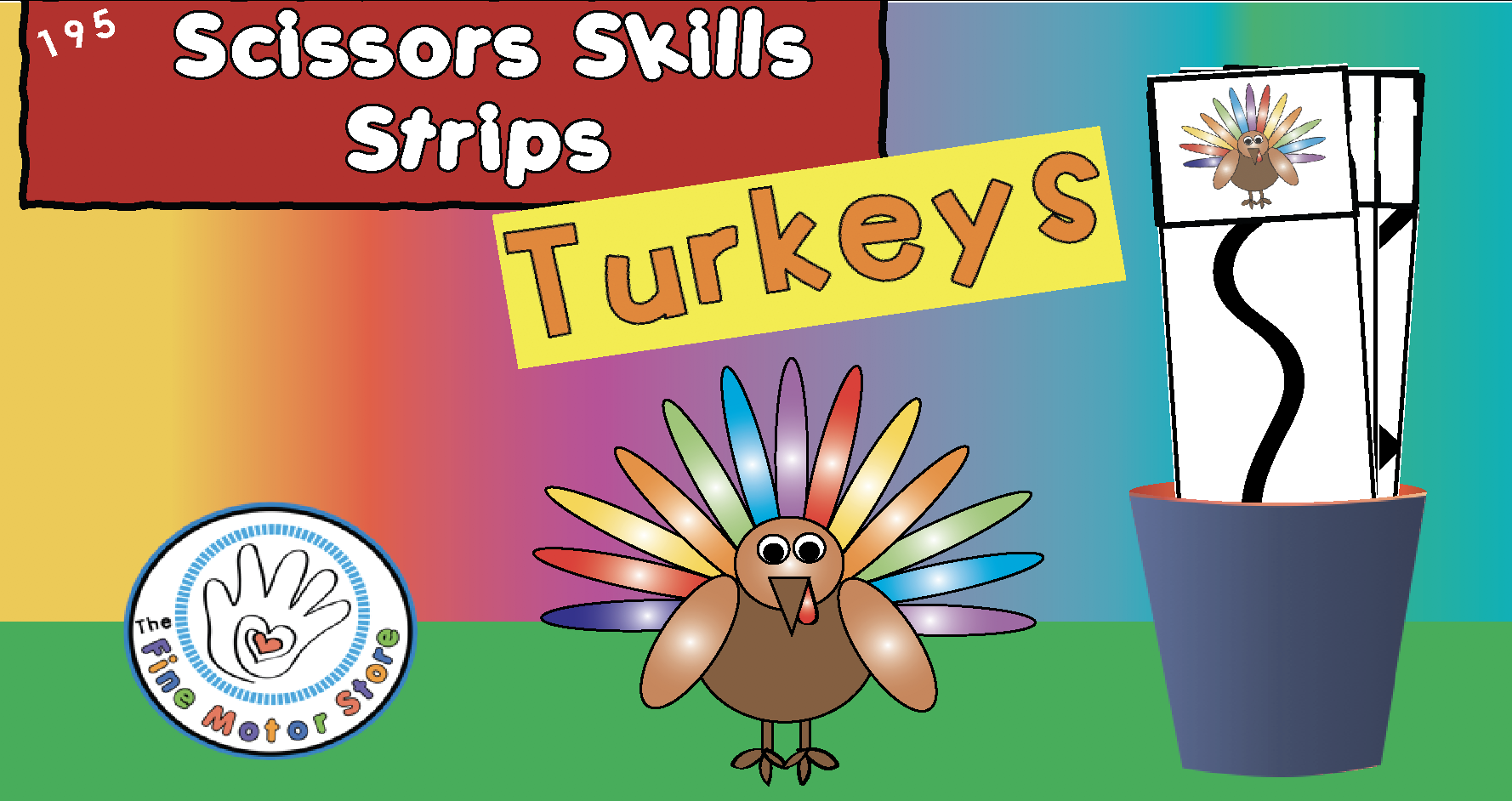 Turkeys Themed Vertical Scissors Skills Strips